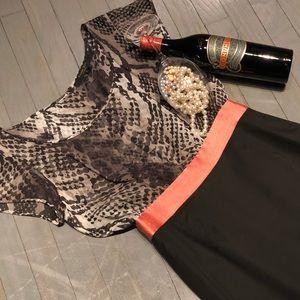 Rachel Roy Silk Flutter Sleeve Scoop Blouse Dress